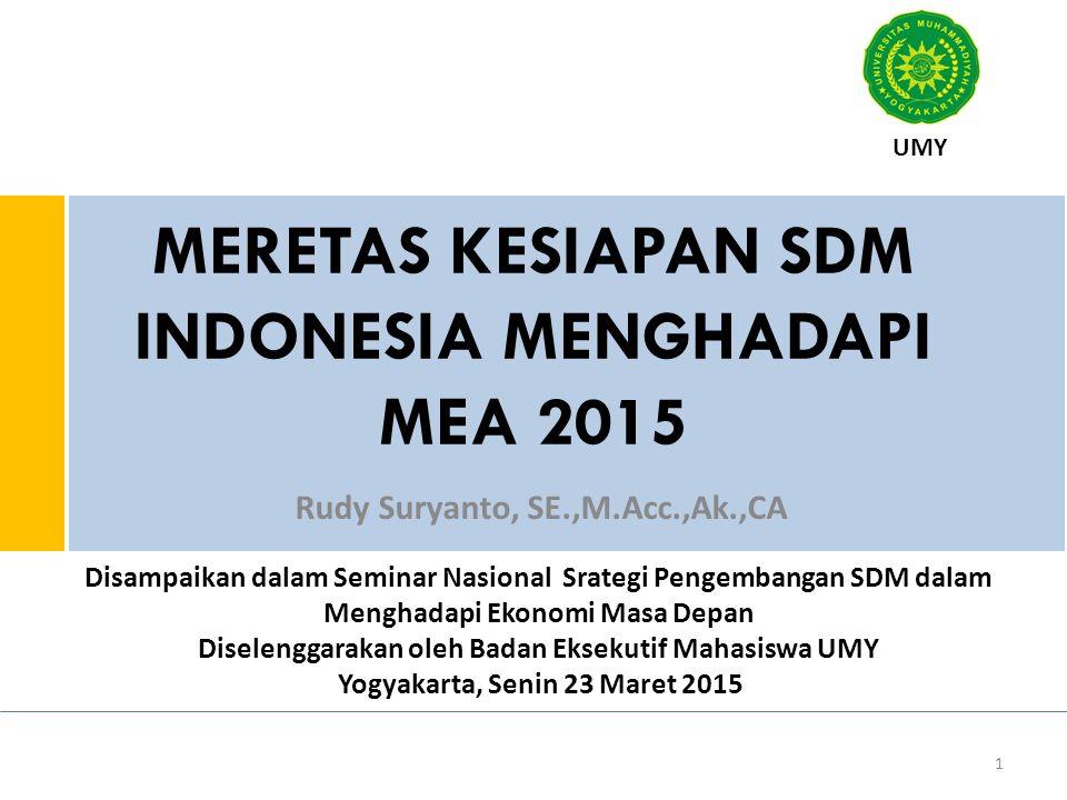 MERETAS KESIAPAN SDM INDONESIA MENGHADAPI MEA 2015 Rudy Suryanto, SE.,M.Acc.,Ak.,CA 1 UMY Disampaikan dalam Seminar Nasional Srategi Pengembangan SDM