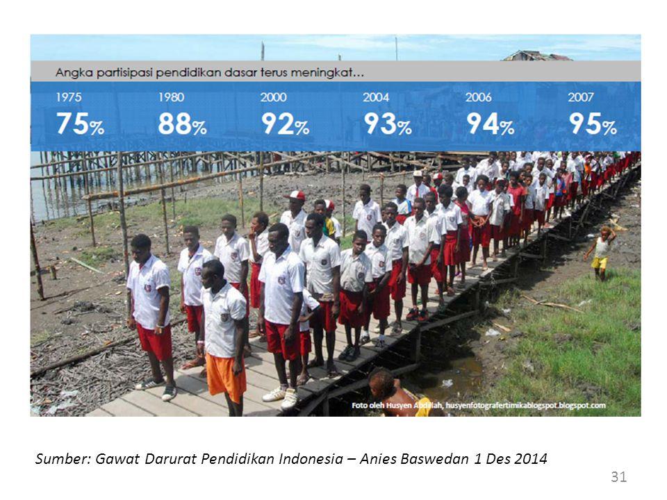 31 Sumber: Gawat Darurat Pendidikan Indonesia – Anies Baswedan 1 Des 2014