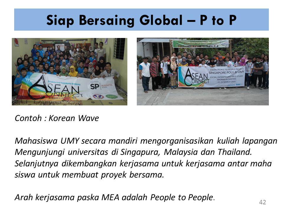 Siap Bersaing Global – P to P 42 Contoh : Korean Wave Mahasiswa UMY secara mandiri mengorganisasikan kuliah lapangan Mengunjungi universitas di Singap