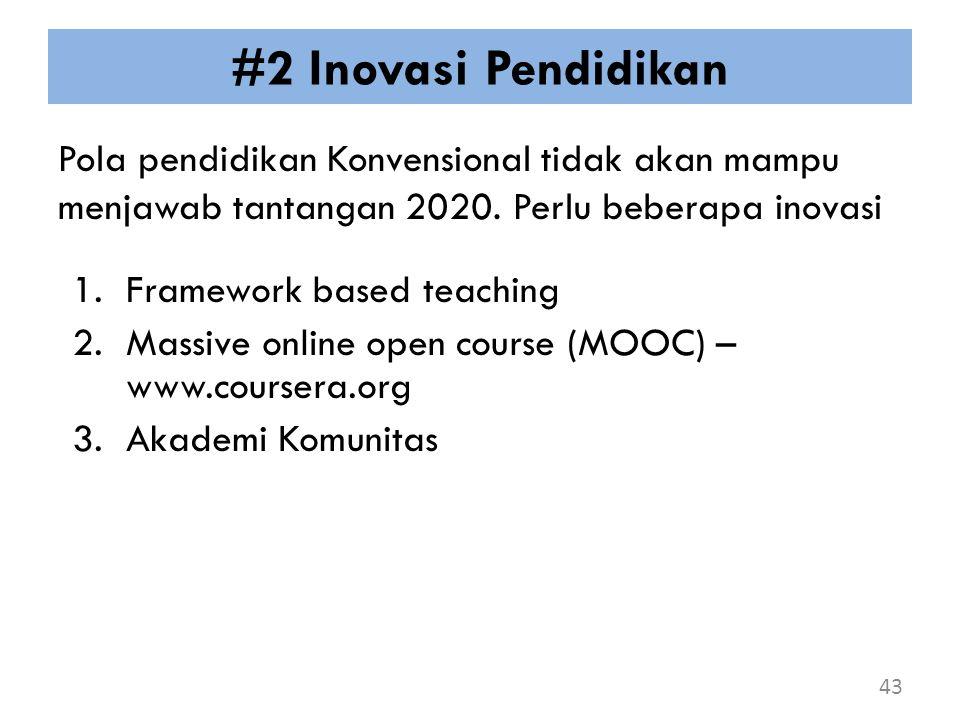 #2 Inovasi Pendidikan Pola pendidikan Konvensional tidak akan mampu menjawab tantangan 2020. Perlu beberapa inovasi 43 1.Framework based teaching 2.Ma