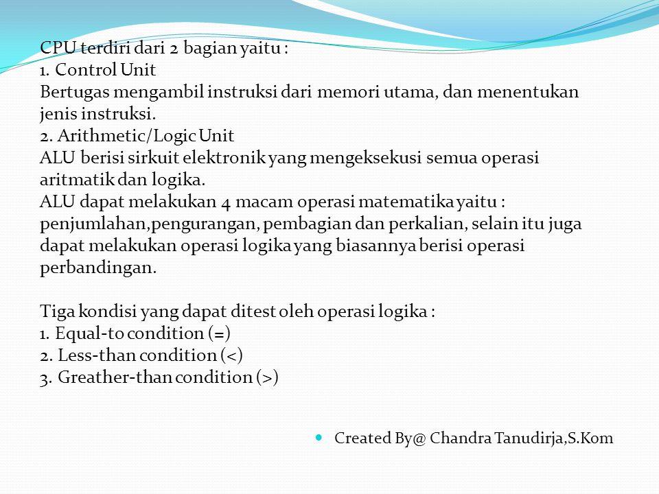 Created By@ Chandra Tanudirja,S.Kom CPU terdiri dari 2 bagian yaitu : 1.