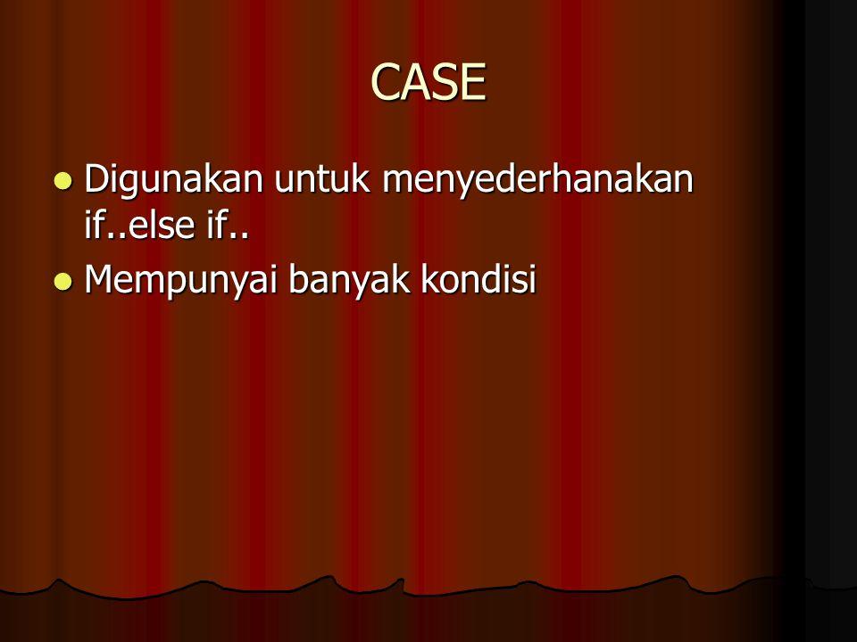 CASE Bentuk umumnya Bentuk umumnya Case kondisi yg diuji of kondisi 1: {penyataan jika kondisi 1 terpenuhi} kondisi 2: {penyataan jika kondisi 2 terpenuhi} kondisi 3: {penyataan jika kondisi 3 terpenuhi}....Else {penyataan jika tidak ada kondisi yg terpenuhi} End;