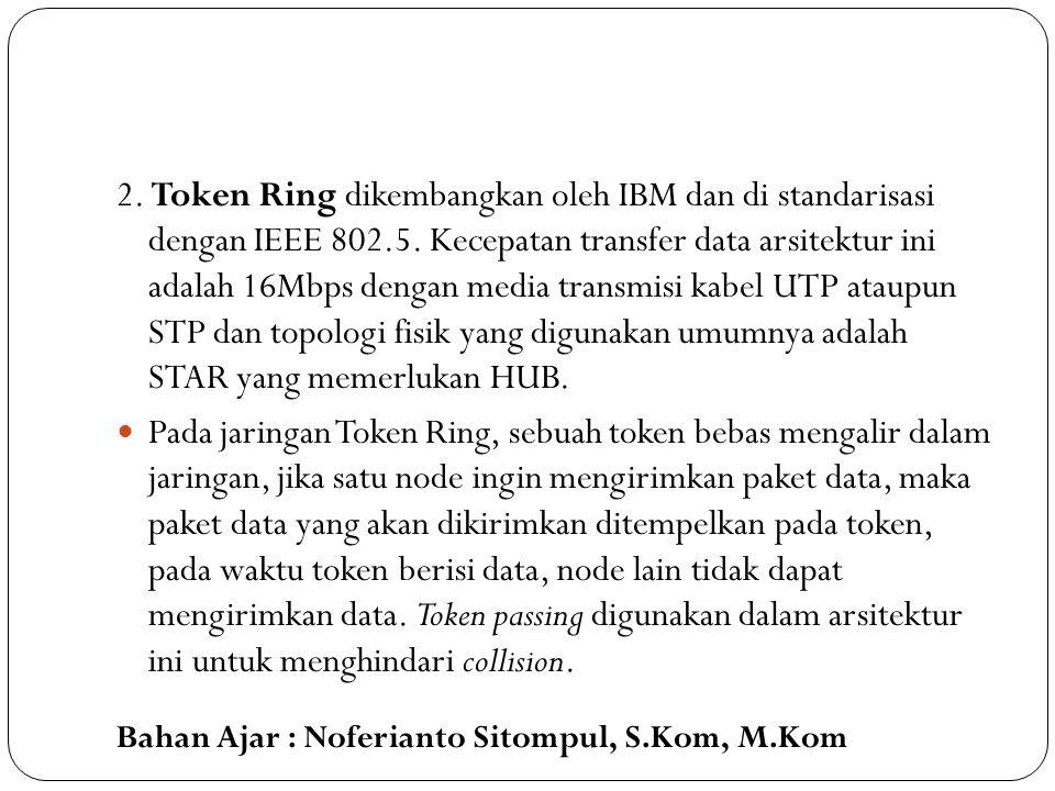 Bahan Ajar : Noferianto Sitompul, S.Kom, M.Kom 2. Token Ring dikembangkan oleh IBM dan di standarisasi dengan IEEE 802.5. Kecepatan transfer data arsi