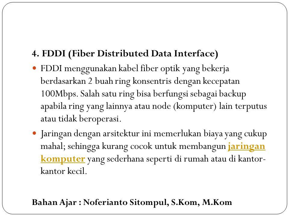 Bahan Ajar : Noferianto Sitompul, S.Kom, M.Kom 4. FDDI (Fiber Distributed Data Interface) FDDI menggunakan kabel fiber optik yang bekerja berdasarkan