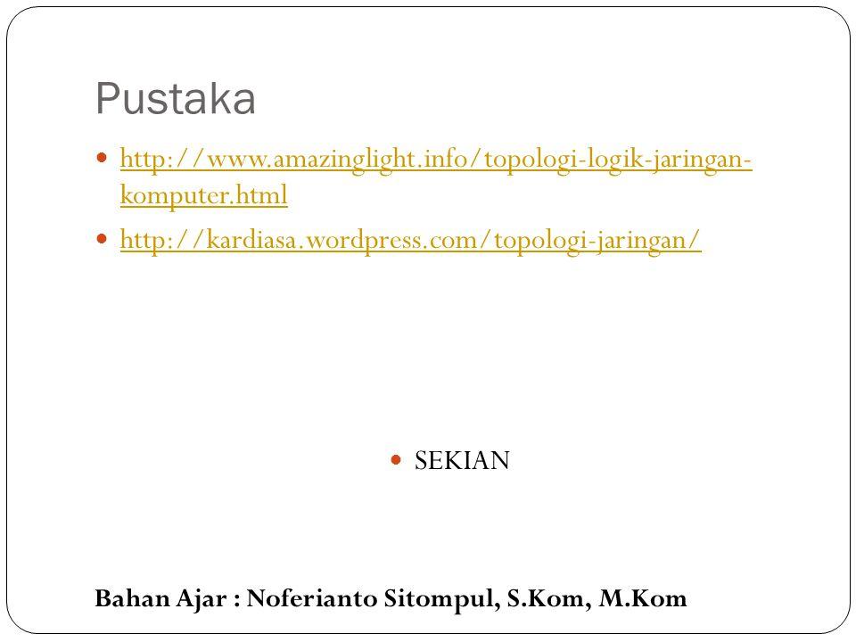 Bahan Ajar : Noferianto Sitompul, S.Kom, M.Kom Pustaka http://www.amazinglight.info/topologi-logik-jaringan- komputer.html http://www.amazinglight.inf