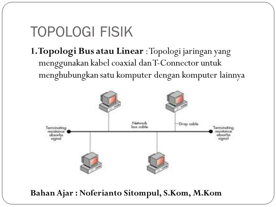 Bahan Ajar : Noferianto Sitompul, S.Kom, M.Kom TOPOLOGI FISIK 1. Topologi Bus atau Linear : Topologi jaringan yang menggunakan kabel coaxial dan T-Con
