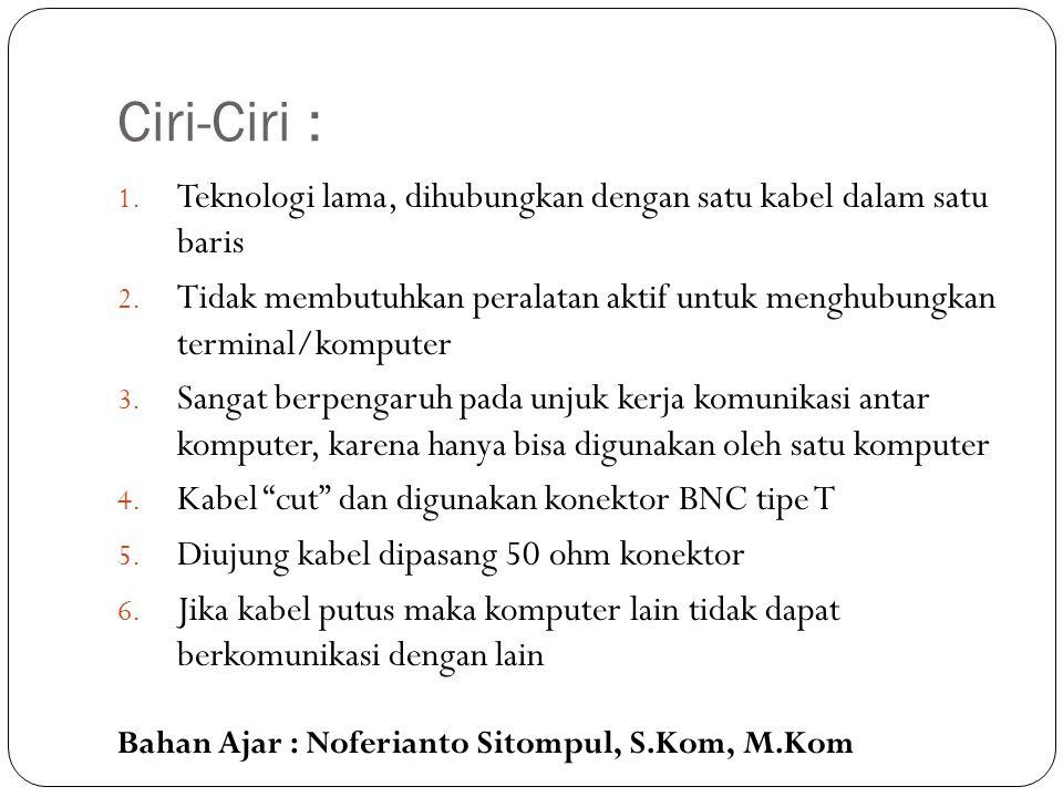 Bahan Ajar : Noferianto Sitompul, S.Kom, M.Kom Keunggulan pengembangan jaringan atau penambahan workstation baru dapat dilakukan dengan mudah tanpa mengganggu workstation lain.