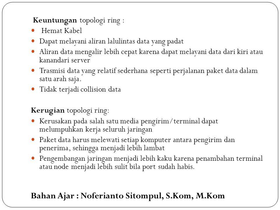 Bahan Ajar : Noferianto Sitompul, S.Kom, M.Kom Keuntungan topologi ring : Hemat Kabel Dapat melayani aliran lalulintas data yang padat Aliran data men