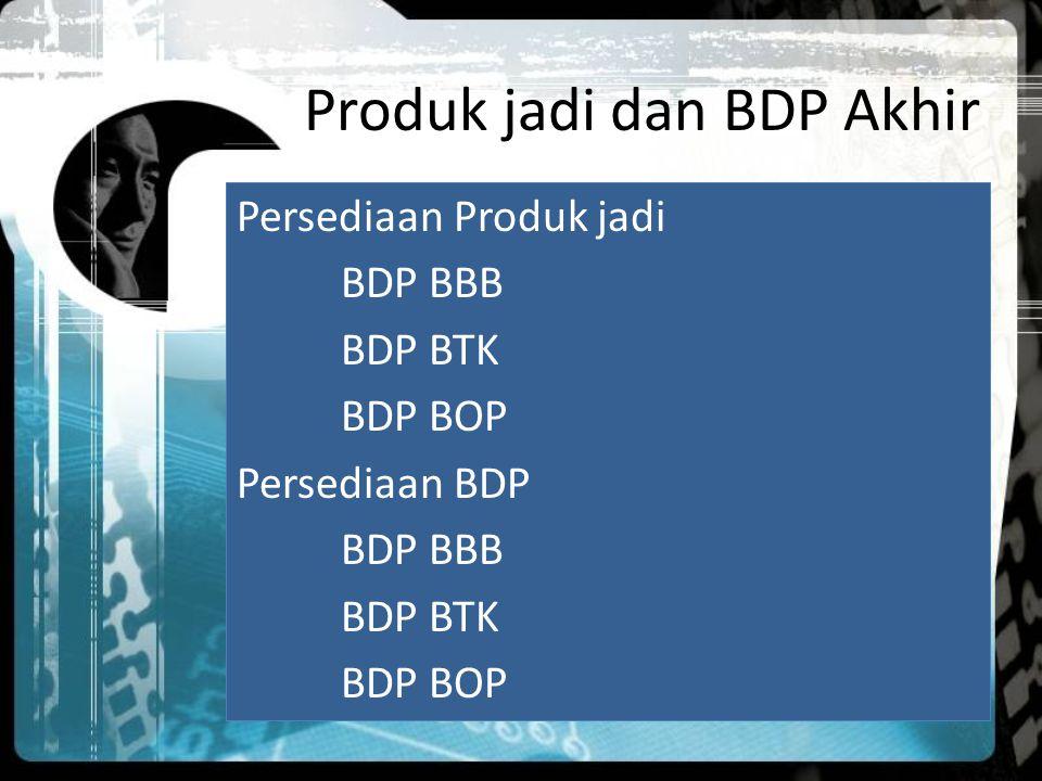 Produk jadi dan BDP Akhir Persediaan Produk jadi BDP BBB BDP BTK BDP BOP Persediaan BDP BDP BBB BDP BTK BDP BOP