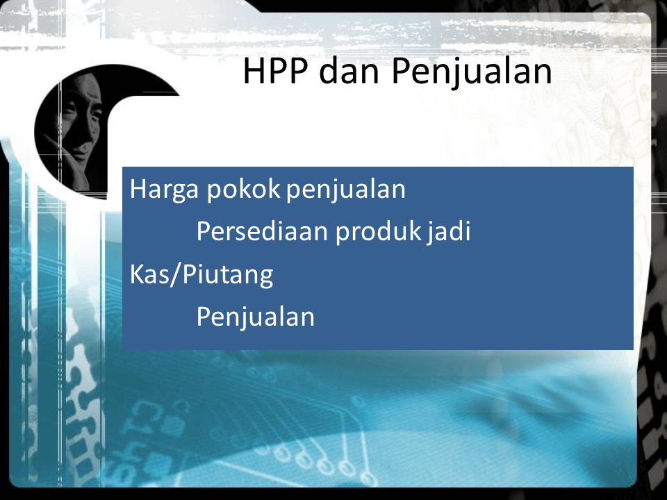 HPP dan Penjualan Harga pokok penjualan Persediaan produk jadi Kas/Piutang Penjualan