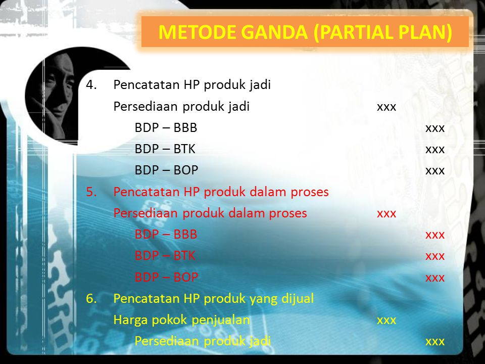 7.Pencatatan selisih biaya a.Selisih BB Selisih harga BBxxx selisih kuantitas BBxxx BDP – BBBxxx b.Selisih BTKL Selisih Efisiensi upahxxx Selisih Tarif upahxxx BDP – BTKxxx c.Selisih BOP Menyesuaikan metode yang dipakai.