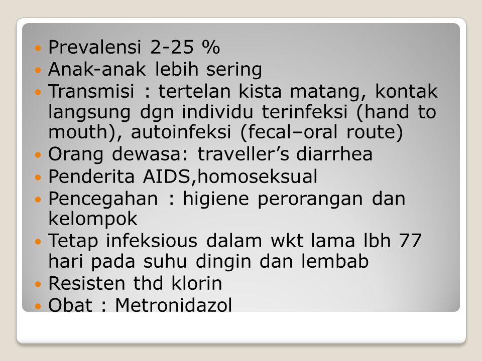 Prevalensi 2-25 % Anak-anak lebih sering Transmisi : tertelan kista matang, kontak langsung dgn individu terinfeksi (hand to mouth), autoinfeksi (fecal–oral route) Orang dewasa: traveller's diarrhea Penderita AIDS,homoseksual Pencegahan : higiene perorangan dan kelompok Tetap infeksious dalam wkt lama lbh 77 hari pada suhu dingin dan lembab Resisten thd klorin Obat : Metronidazol
