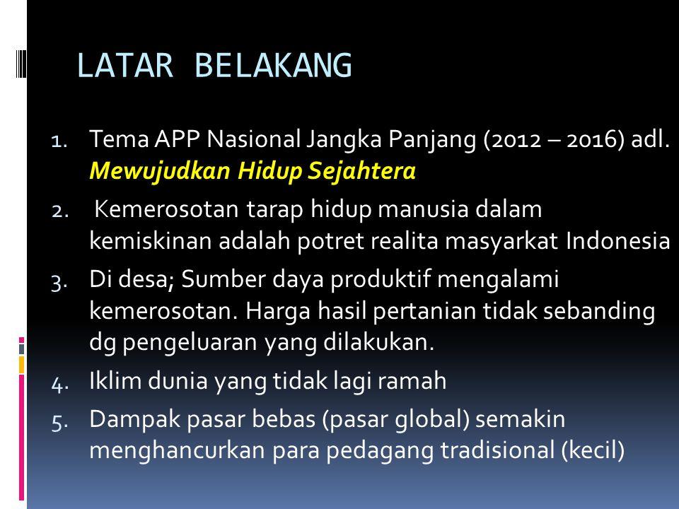 LATAR BELAKANG 1. Tema APP Nasional Jangka Panjang (2012 – 2016) adl. Mewujudkan Hidup Sejahtera 2. Kemerosotan tarap hidup manusia dalam kemiskinan a