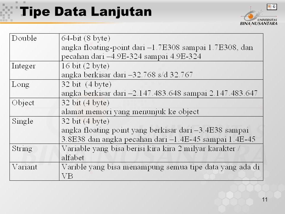 11 Tipe Data Lanjutan