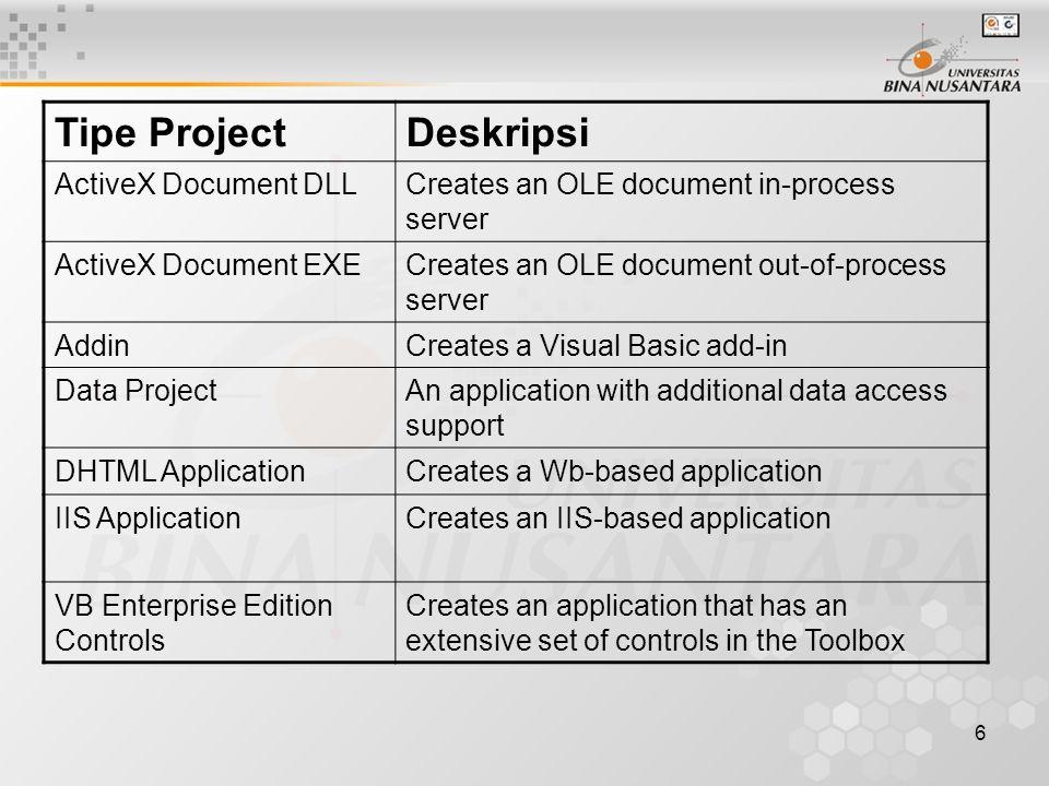 7 Tipe File dalam Visual Basic ExtensionTipe File.frmForm File.basBasic File.clsClass File.resResource File.ctlUser-defined Control File.pagProperty page file.dsrDesigner File.vbpVisual Basic Project.vbgVisual Basic Group