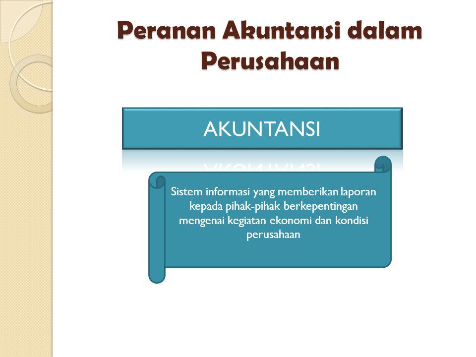 Sistem informasi yang memberikan laporan kepada pihak-pihak berkepentingan mengenai kegiatan ekonomi dan kondisi perusahaan Peranan Akuntansi dalam Pe