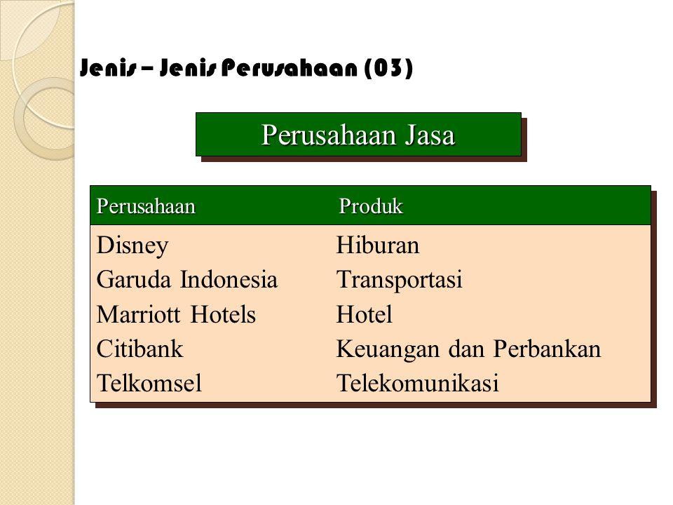 Perusahaan Jasa Perusahaan Jasa Perusahaan Produk DisneyHiburan Garuda IndonesiaTransportasi Marriott HotelsHotel CitibankKeuangan dan Perbankan Telko