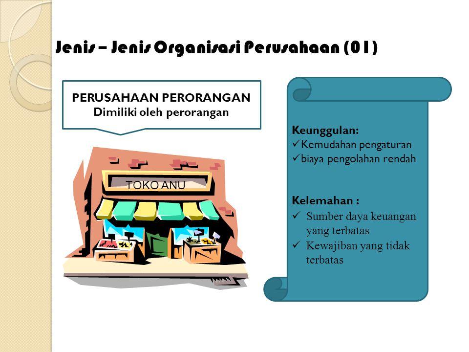 Jenis – Organisasi Perusahaan (01) TOKO ANU PERUSAHAAN PERORANGAN Dimiliki oleh perorangan Keunggulan: Kemudahan pengaturan biaya pengolahan rendah Ke