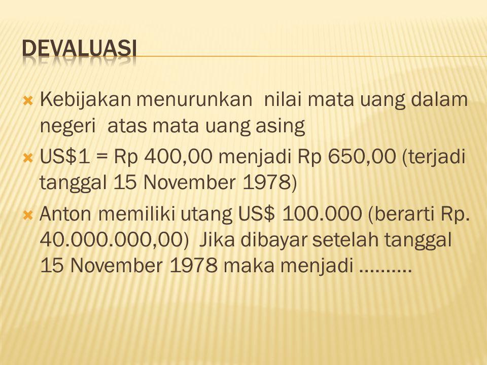  Kebijakan menurunkan nilai mata uang dalam negeri atas mata uang asing  US$1 = Rp 400,00 menjadi Rp 650,00 (terjadi tanggal 15 November 1978)  Anton memiliki utang US$ 100.000 (berarti Rp.