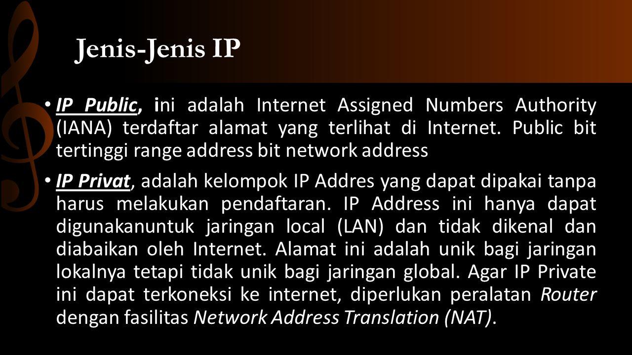 Pembagian kelas di private address Private Address Kelas A, IP Address dari 10.0.0.0 – 10.255.255.254, setara dengan sebuah jaringan dengan 24 bit host.