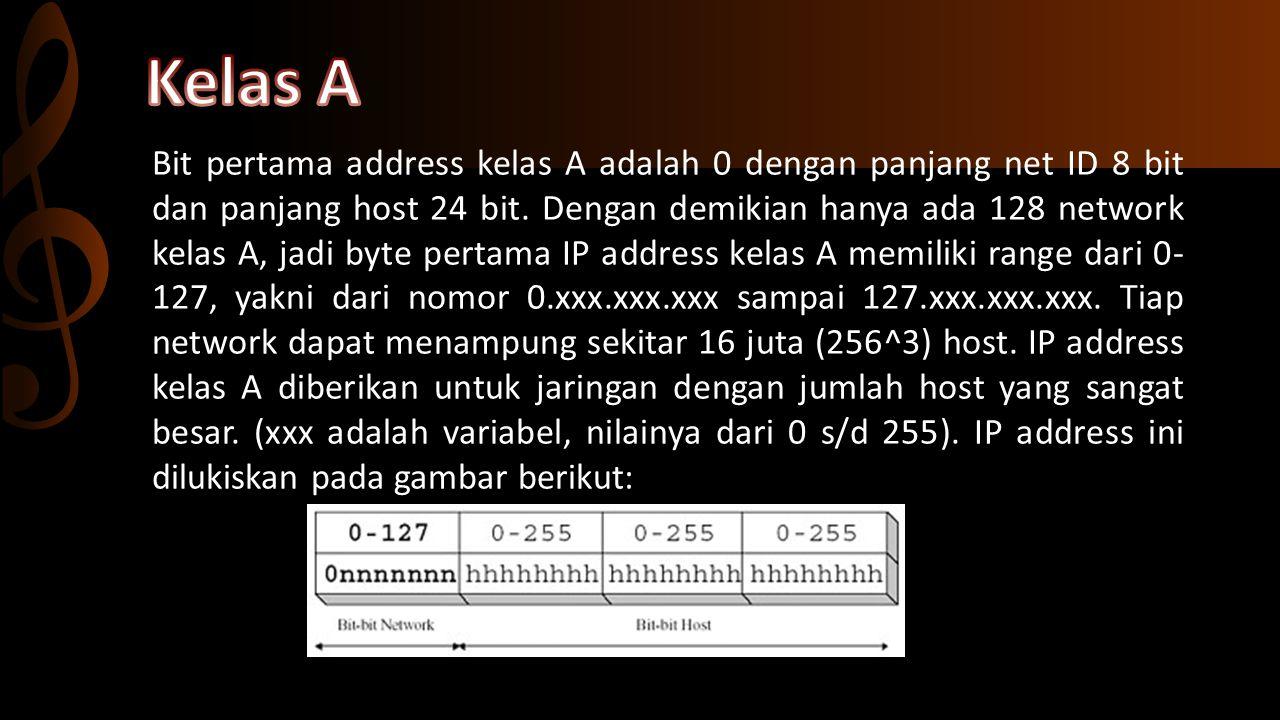 Dua bit IP address kelas B selalu diset 10 sehingga byte pertamanya selalu bernilai 128-191.