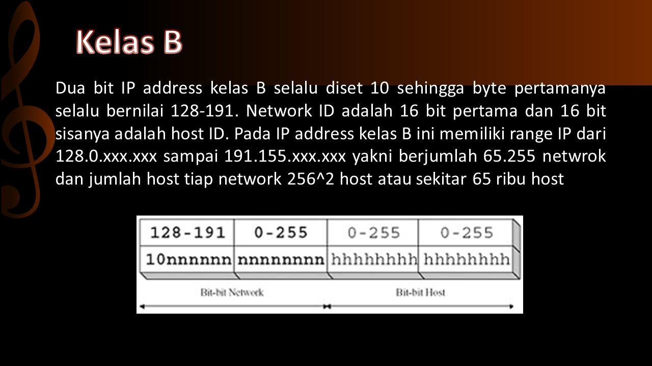 Jika 3 bit pertama dari IP Address adalah 110, address merupakan network kelas C.