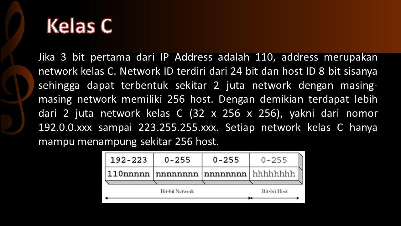 Network Address, address ini digunakan untuk mengenali suatu network pada jaringan internet.