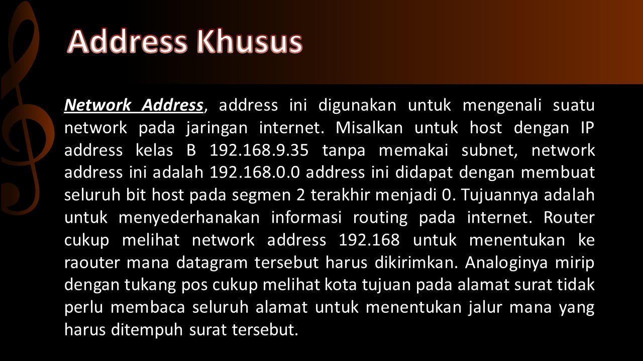 Broadcast Address, digunakan untuk mengirim dan menerima informasi yang harus diketahui oleh seluruh host yang ada pada suatu network.