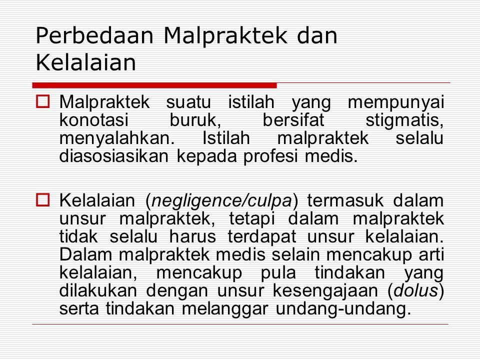 Perbedaan Malpraktek dan Kelalaian  Malpraktek suatu istilah yang mempunyai konotasi buruk, bersifat stigmatis, menyalahkan. Istilah malpraktek selal