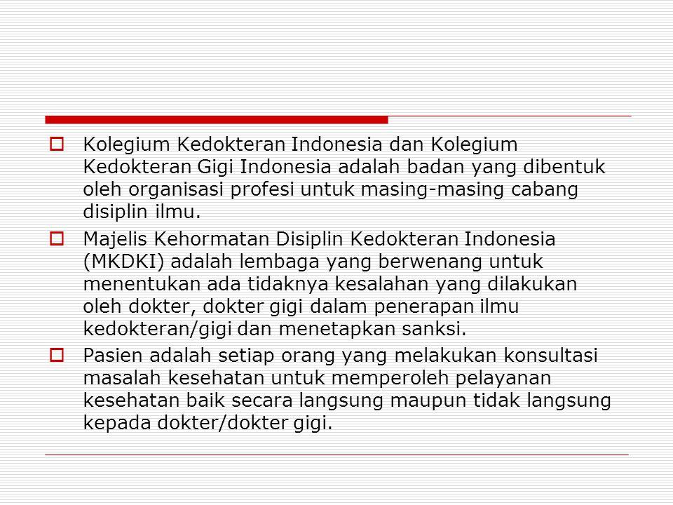  Kolegium Kedokteran Indonesia dan Kolegium Kedokteran Gigi Indonesia adalah badan yang dibentuk oleh organisasi profesi untuk masing-masing cabang d