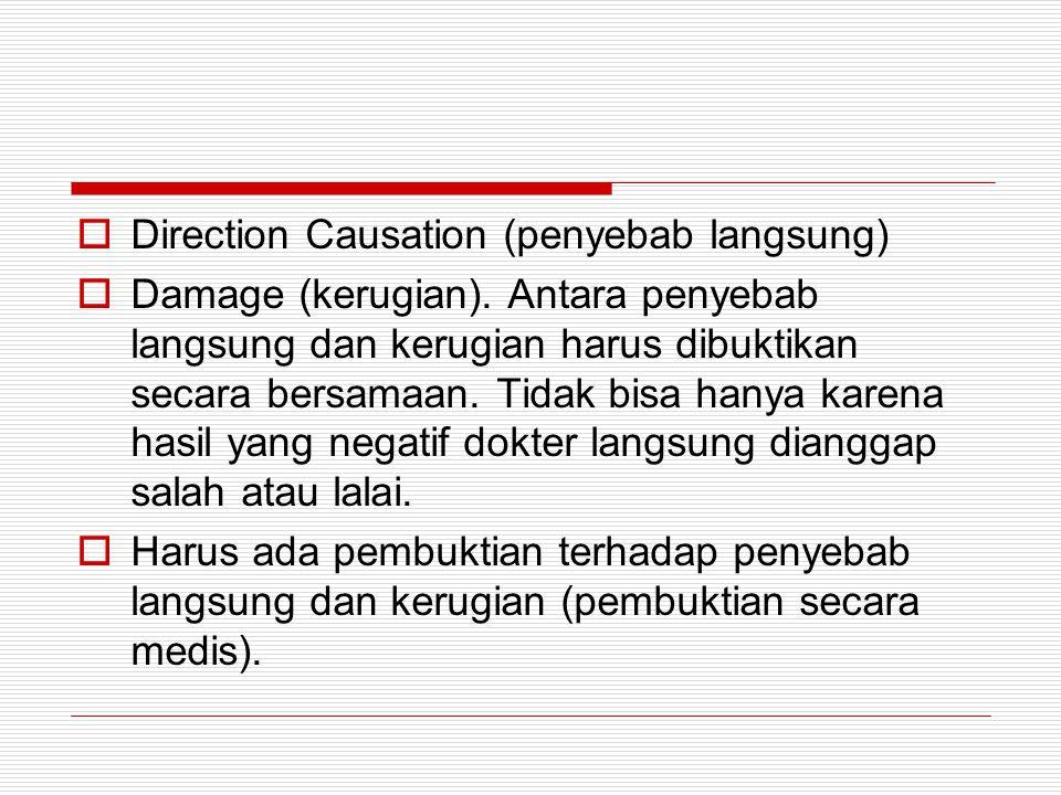  Direction Causation (penyebab langsung)  Damage (kerugian). Antara penyebab langsung dan kerugian harus dibuktikan secara bersamaan. Tidak bisa han