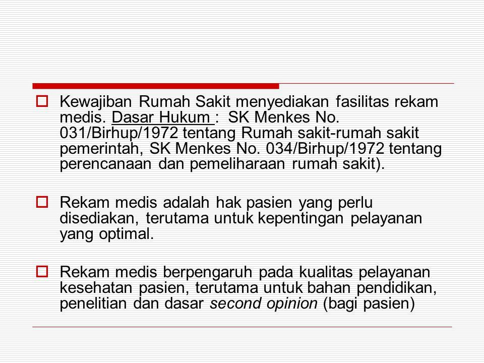  Kewajiban Rumah Sakit menyediakan fasilitas rekam medis. Dasar Hukum : SK Menkes No. 031/Birhup/1972 tentang Rumah sakit-rumah sakit pemerintah, SK