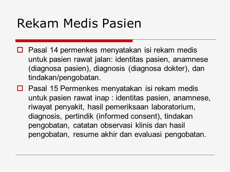 Rekam Medis Pasien  Pasal 14 permenkes menyatakan isi rekam medis untuk pasien rawat jalan: identitas pasien, anamnese (diagnosa pasien), diagnosis (