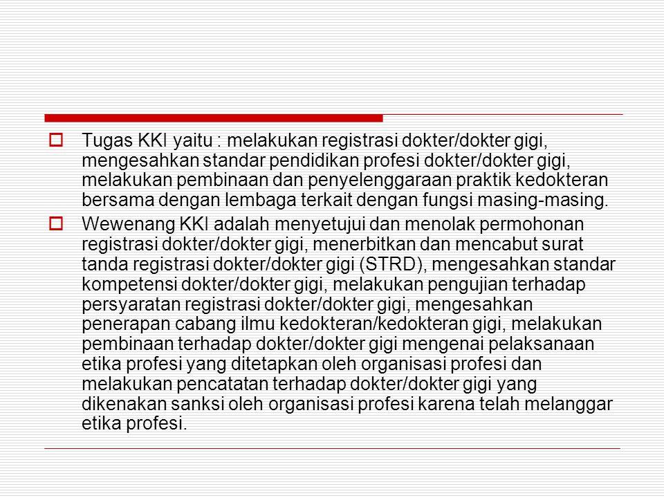 Ketentuan Pidana  Pasal 75 ayat (1) : sanksi pidana bagi dokter/dokter gigi yang dengan sengaja melakukan praktik kedokteran tanpa memiliki STRD.