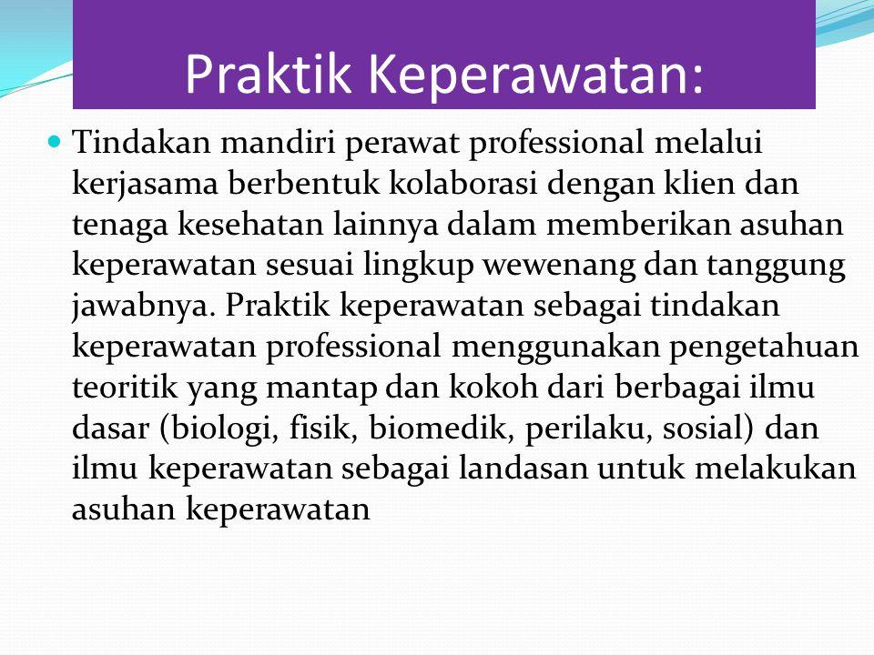 Praktik Keperawatan: Tindakan mandiri perawat professional melalui kerjasama berbentuk kolaborasi dengan klien dan tenaga kesehatan lainnya dalam memb