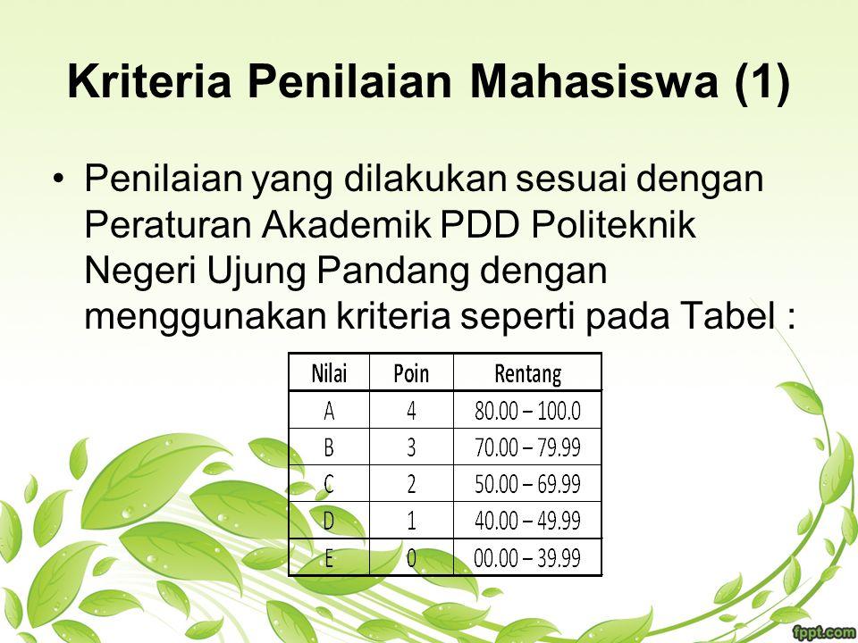 Kriteria Penilaian Mahasiswa (1) Penilaian yang dilakukan sesuai dengan Peraturan Akademik PDD Politeknik Negeri Ujung Pandang dengan menggunakan krit