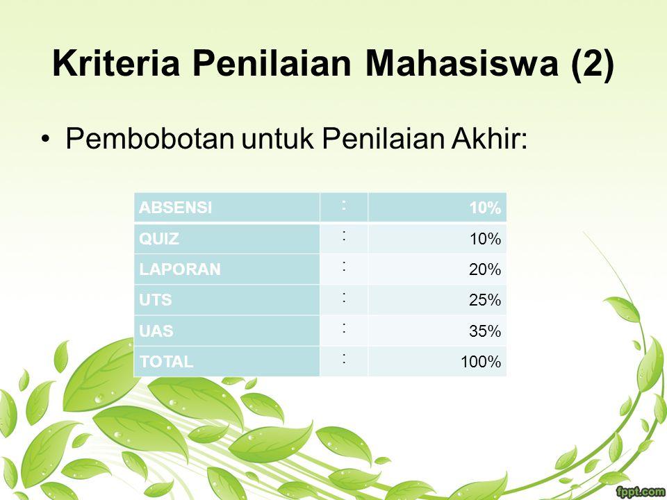 Kriteria Penilaian Mahasiswa (2) Pembobotan untuk Penilaian Akhir: ABSENSI : 10% QUIZ : 10% LAPORAN : 20% UTS : 25% UAS : 35% TOTAL : 100%