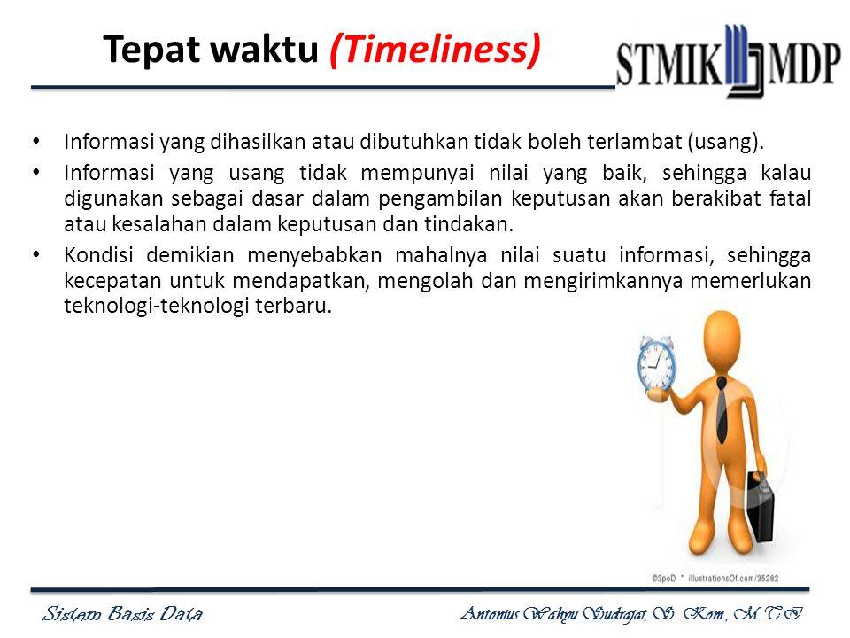 Sistem Basis Data Antonius Wahyu Sudrajat, S. Kom., M.T.I Tepat waktu (Timeliness) Informasi yang dihasilkan atau dibutuhkan tidak boleh terlambat (us