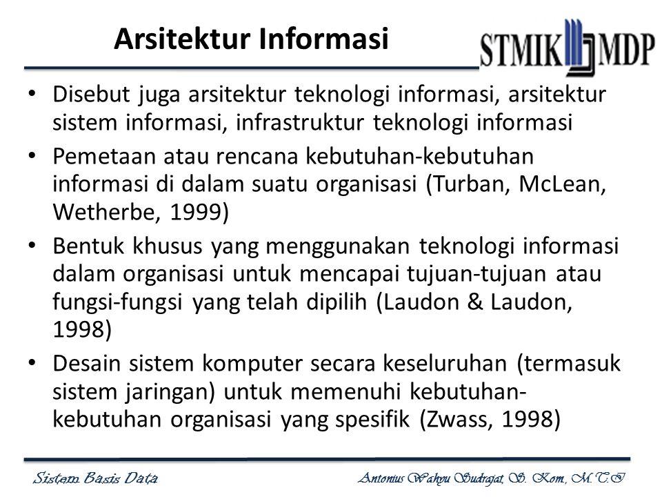 Sistem Basis Data Antonius Wahyu Sudrajat, S. Kom., M.T.I Arsitektur Informasi Disebut juga arsitektur teknologi informasi, arsitektur sistem informas