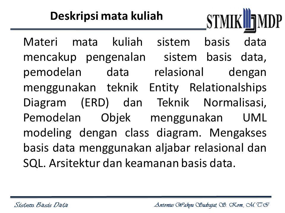 Sistem Basis Data Antonius Wahyu Sudrajat, S. Kom., M.T.I Deskripsi mata kuliah Materi mata kuliah sistem basis data mencakup pengenalan sistem basis