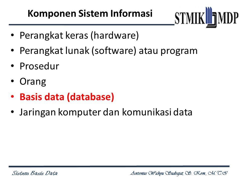 Sistem Basis Data Antonius Wahyu Sudrajat, S. Kom., M.T.I Komponen Sistem Informasi Perangkat keras (hardware) Perangkat lunak (software) atau program