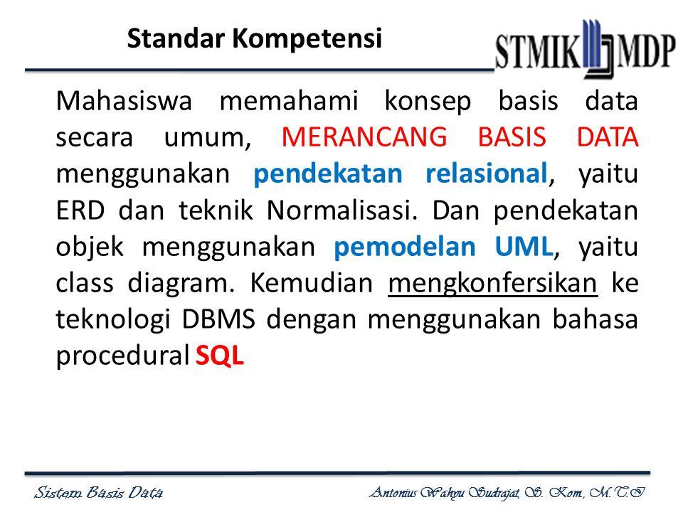 Sistem Basis Data Antonius Wahyu Sudrajat, S. Kom., M.T.I Standar Kompetensi Mahasiswa memahami konsep basis data secara umum, MERANCANG BASIS DATA me