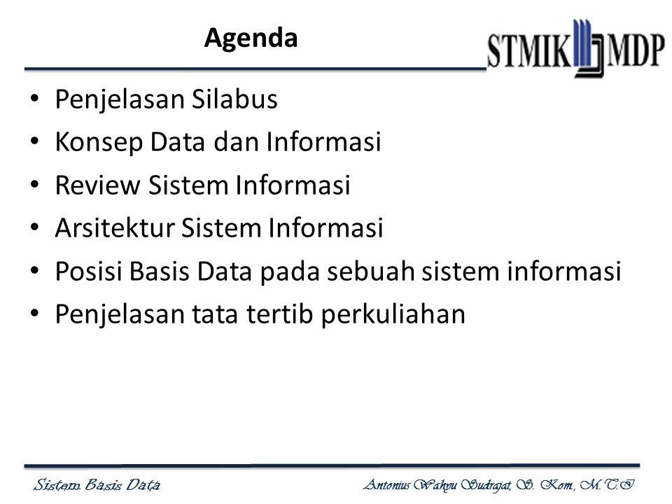 Sistem Basis Data Antonius Wahyu Sudrajat, S. Kom., M.T.I Agenda Penjelasan Silabus Konsep Data dan Informasi Review Sistem Informasi Arsitektur Siste