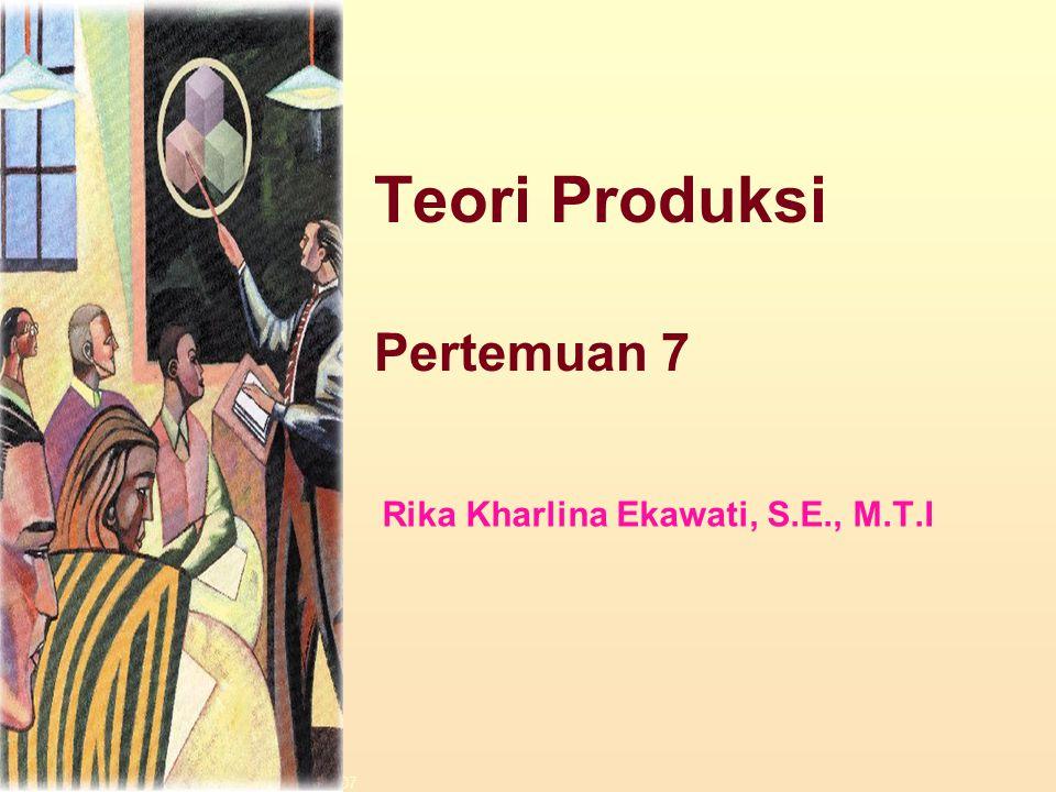 Dinnul Alfian Akbar 2007 Teori Produksi Pertemuan 7 Rika Kharlina Ekawati, S.E., M.T.I