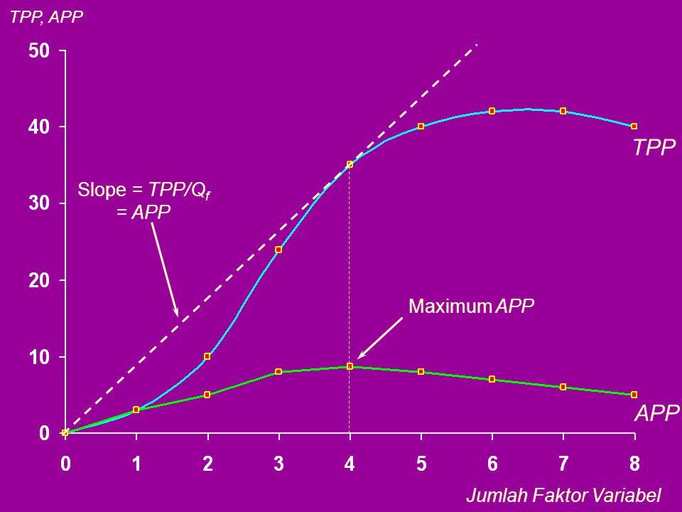 TPP APP Maximum APP Slope = TPP/Q f = APP TPP, APP Jumlah Faktor Variabel