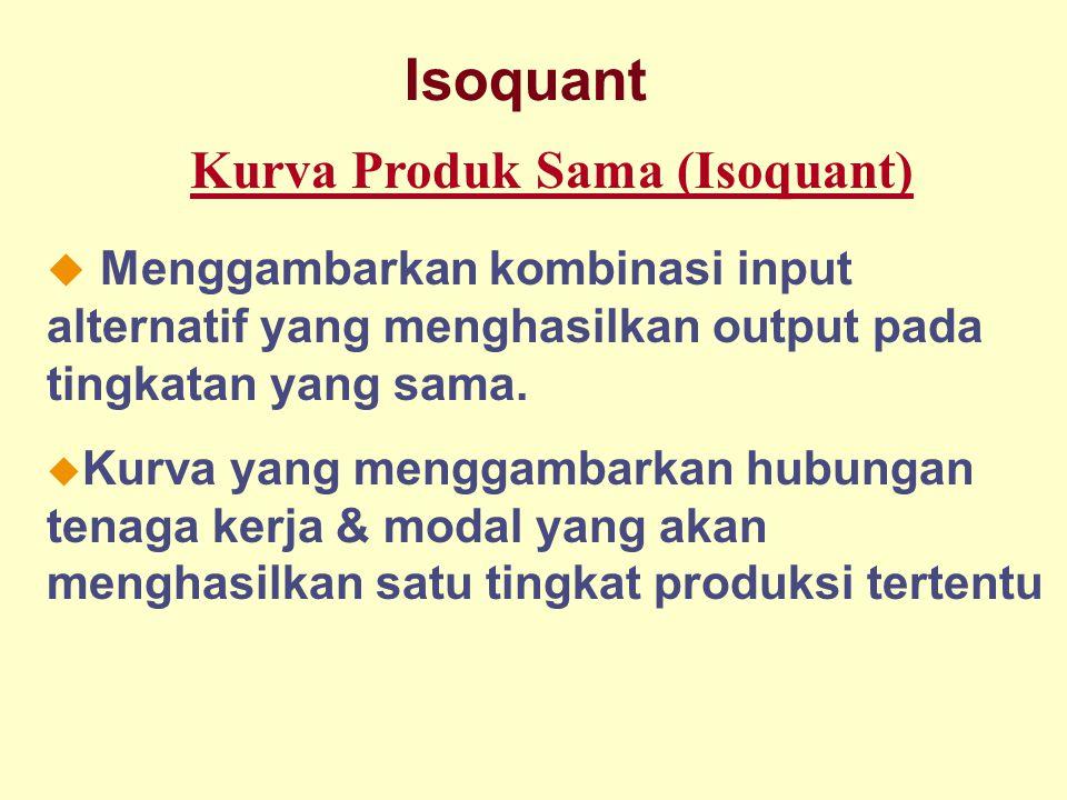 Dinnul Alfian Akbar 2007 Isoquant Kurva Produk Sama (Isoquant)  Menggambarkan kombinasi input alternatif yang menghasilkan output pada tingkatan yang sama.