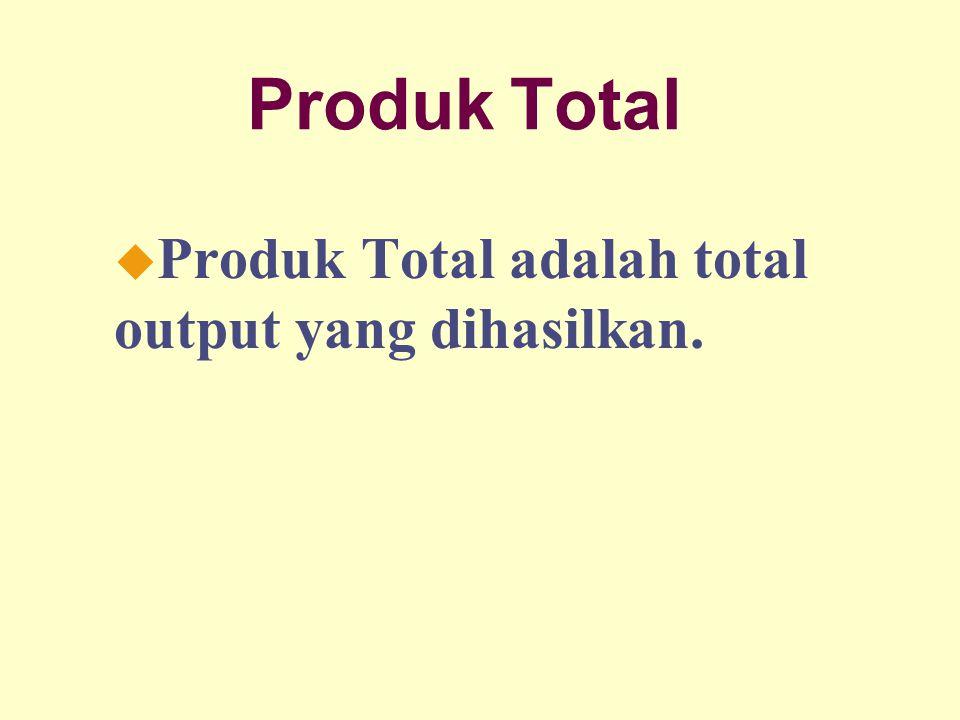 Dinnul Alfian Akbar 2007 Produk Total u Produk Total adalah total output yang dihasilkan.