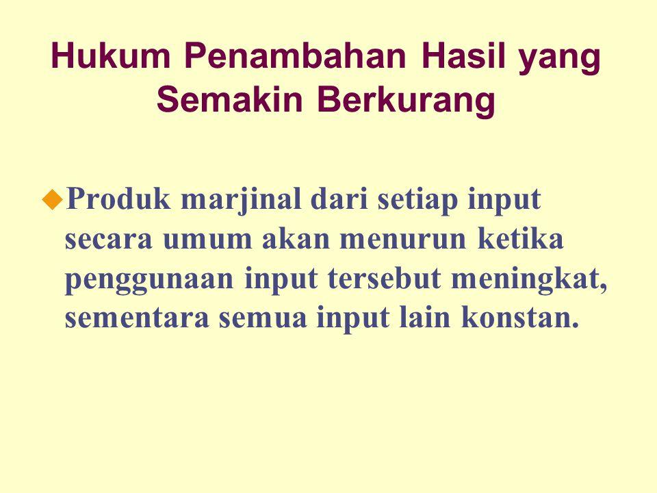 Dinnul Alfian Akbar 2007 Hukum Penambahan Hasil yang Semakin Berkurang u Produk marjinal dari setiap input secara umum akan menurun ketika penggunaan input tersebut meningkat, sementara semua input lain konstan.