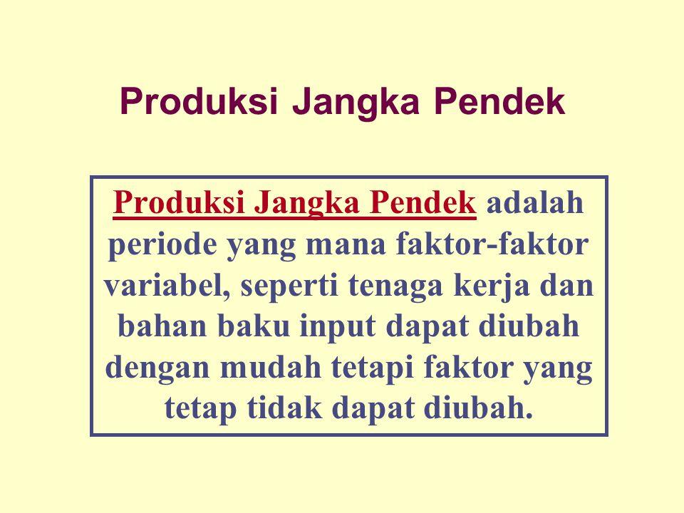 Dinnul Alfian Akbar 2007 Produksi Jangka Pendek Produksi Jangka Pendek adalah periode yang mana faktor-faktor variabel, seperti tenaga kerja dan bahan baku input dapat diubah dengan mudah tetapi faktor yang tetap tidak dapat diubah.