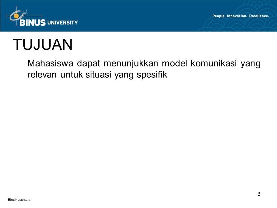 Bina Nusantara 3 TUJUAN Mahasiswa dapat menunjukkan model komunikasi yang relevan untuk situasi yang spesifik